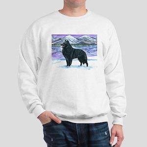 Belgian Sheepdog In Snow Sweatshirt