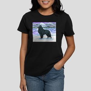 Belgian Sheepdog In Snow Women's Dark T-Shirt