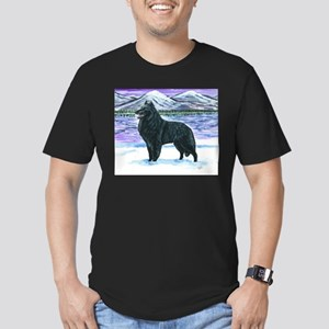Belgian Sheepdog In Snow Men's Fitted T-Shirt (dar