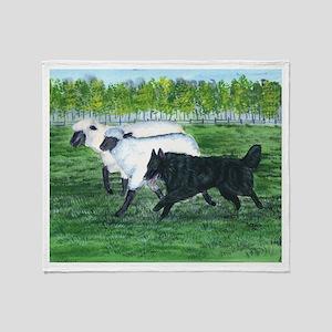 Belgian Sheepdog Herding Throw Blanket