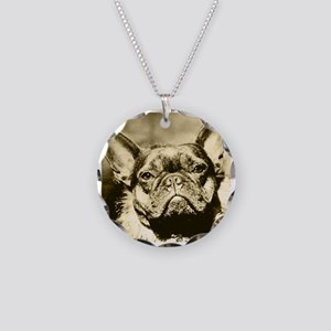 VINTAGE FRENCH BULLDOG Necklace Circle Charm