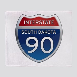Interstate 90 - South Dakota Throw Blanket