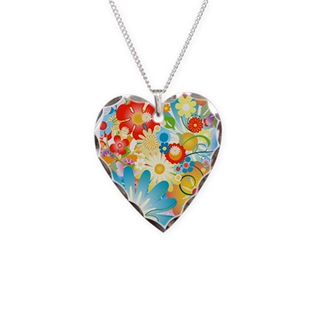 Floral Explosion summer colors Necklace Heart Char