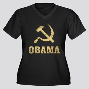Socialist Obama Vintage Women's Plus Size V-Neck D