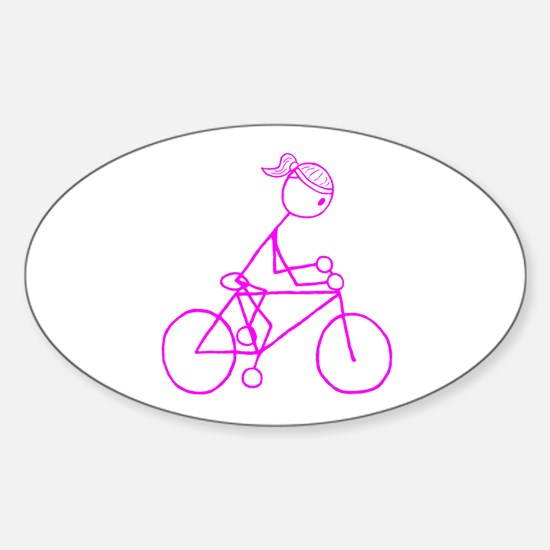 Bicycle Girl- Pink Sticker (Oval)