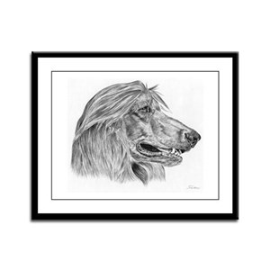 Afghan Hound Pencil Drawing Framed Panel Print