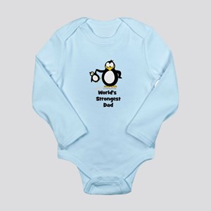 World's Strongest Dad Penguin Long Sleeve Infant B
