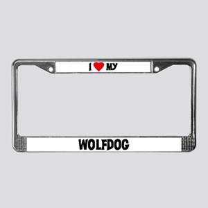 I Love My Wolfdog License Plate Frame