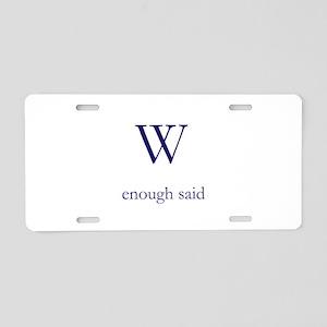 W Aluminum License Plate