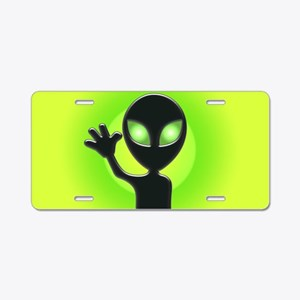 Waving Alien Aluminum License Plate