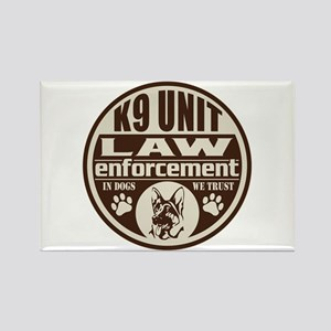 K9 In Dogs We Trust Dark Brown Rectangle Magnet