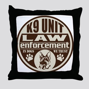 K9 In Dogs We Trust Dark Brown Throw Pillow