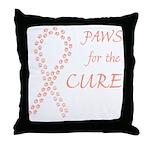 Peach Paws Cure Throw Pillow