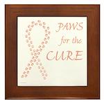 Peach Paws Cure Framed Tile