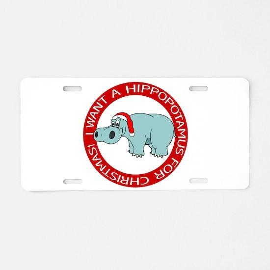 Christmas Hippopotamus Aluminum License Plate