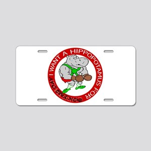 Hippo for Boxing Day Aluminum License Plate