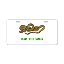 Plays With Snakes Aluminum License Plate