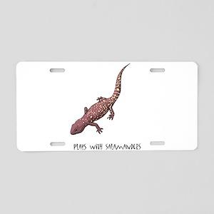 Plays With Salamanders Aluminum License Plate
