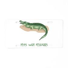 Plays With Alligators Aluminum License Plate