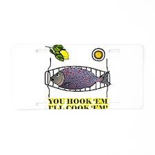 You Hook 'Em Fishing Aluminum License Plate