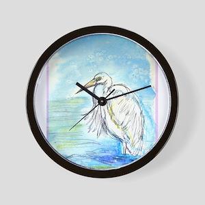 Egret, beautiful, bird art, Wall Clock