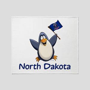 North Dakota Penguin Throw Blanket