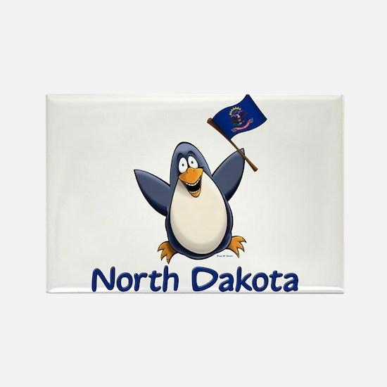 North Dakota Penguin Rectangle Magnet