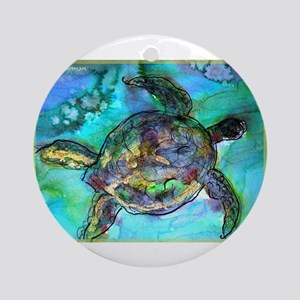 Sea Turtle, bright, Ornament (Round)