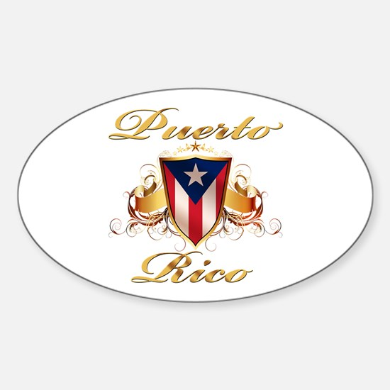 Puerto rican pride Oval Stickers