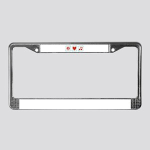 Peace, Love and Music Squares License Plate Frame