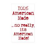 100% American Made Sticker (Rectangle 10 pk)