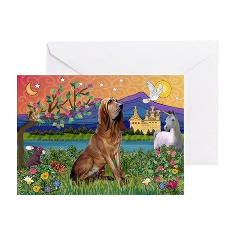 Bloodhound Fantasy Greeting Cards (Pk of 10)