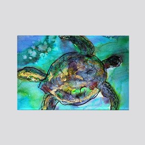 Sea Turtle, bright, Rectangle Magnet