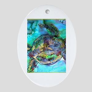 Sea Turtle, bright, Ornament (Oval)