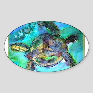 Sea Turtle, bright, Sticker (Oval)