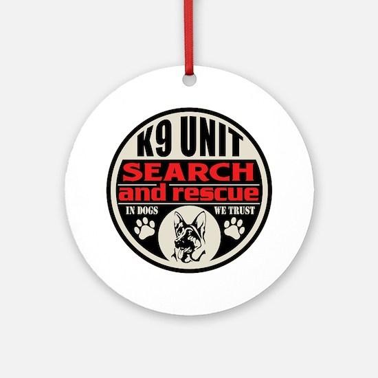 K9 Unit Search and Rescue Ornament (Round)