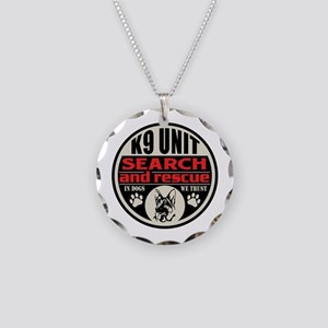 K9 Unit Search and Rescue Necklace Circle Charm
