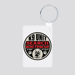 K9 Unit Search and Rescue Aluminum Photo Keychain