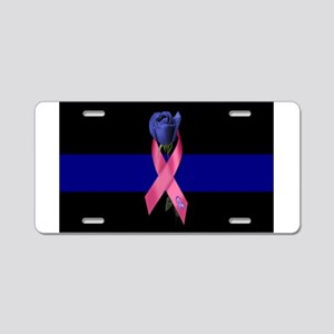 Blue Line Rose Aluminum License Plate