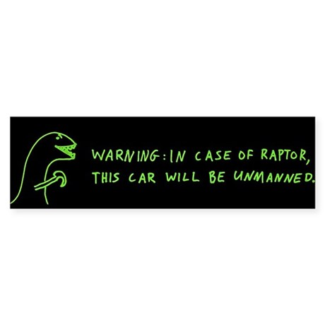 In Case Of Raptor bumper sticker