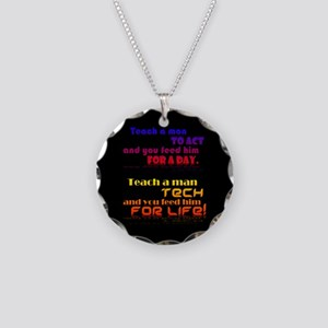 Teach Tech For Life! Necklace Circle Charm