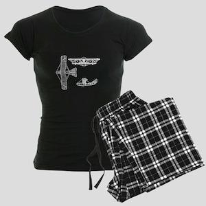 Airplane Blueprint Women's Dark Pajamas