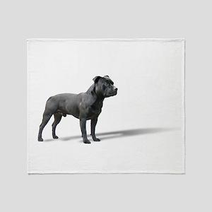 Standing Staffordshire BUll Terrier Throw Blanket
