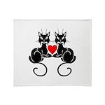 Black Cat Love Throw Blanket