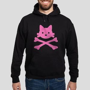 Pink Kitty Crossbones Hoodie (dark)