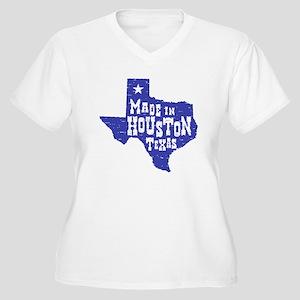 Made In Houston Texas Women's Plus Size V-Neck T-S