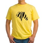 Zebra Swirl Art Yellow T-Shirt