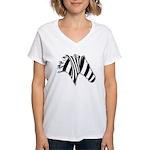 Zebra Swirl Art Women's V-Neck T-Shirt