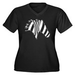 Zebra Swirl Art Women's Plus Size V-Neck Dark T-Sh