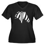 Zebra Swirl Art Women's Plus Size V-Neck Dark T-Sh